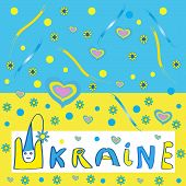 Ukrainian flag with a picture - Illustration