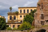 Ruins Near The Beautiful Palace In Rome, Italy