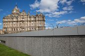 Wall and Balmoral hotel in Edinburgh, Scotland, United Kingdom