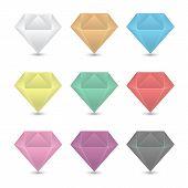 Colorful Diamond Icons Set.