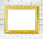 Blank Golden Frame In Room With White Wood Wall (block Style) And Wood Floor