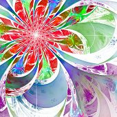 Flower Background. Blue, Red And Green Palette. Fractal Design. Computer Generated Graphics.