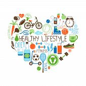 stock photo of sleeping  - Healthy Lifestyle  Diet and Fitness vector sign in the shape of a heart with multiple icons depicting various sports  vegetables  cereals  seafood  meat  fruit  sleep  weight and beverages - JPG