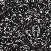 Seafood and fish chalkboard seamless background