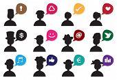 People Silhouette Speech Bubble Icon Set