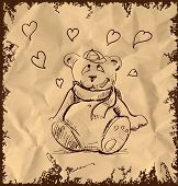 In love cute teddy bear on vintage background