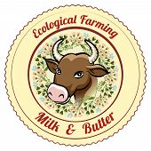 Ecological Farming Milk and Butter label