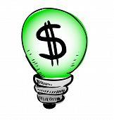 Green light bulb with dollar symbol inside