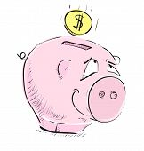 Money pig money box sketch icon