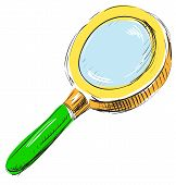 Magnifying glass search find icon illustration