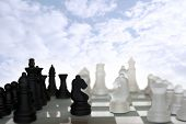 Chess Pieces Isolated Against Blue Sky
