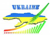 Map Illustration Of Ukraine With Flag