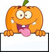 Goofy Halloween Pumpkin Cartoon Character Over A Blank Sign