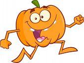 Goofy Halloween Pumpkin Cartoon Character Running