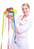 Woman Doctor Dietitian In Lab Coat Recommending Healthy Food. Diet.