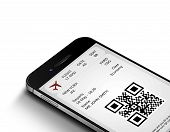 Mobile Phone With Mobile Boarding Pass Isolated Over White