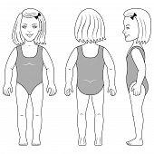Standing Girl Preschooler Vector