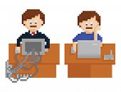 pixel art illustration shows office table with wireless and wired computers