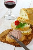 French Snack: French Maize Bread, Pate And Glass Of Red Wine