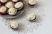 Cupcakes On Lace  On The White Table