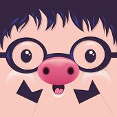 Cute Icon Pig face with emotions Vector illustration Character
