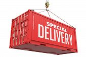 Special Delivery - Red Hanging Cargo Container.