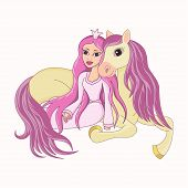 Beautiful princess and her lovely faithful horse