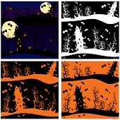 Set Of Seamless Patterns - Halloween Night: Mystery House On Sky Background With Moon.