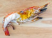 Delicious Grilled Big Freshwater Prawn, Cut In Half And Served