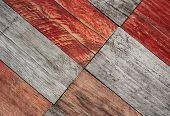 grungy gray and red wood planks