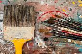big and small paint brushes background