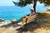 Summer Sea Coast  With Woman On Bench (greece)