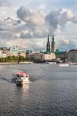View of the Binnenalster lake and the center of Hamburg