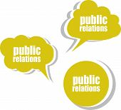Public Relations Word On Modern Banner Design Template. Set Of Stickers, Labels, Tags, Clouds