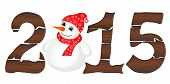 Happy New Year 2015 From Wood With Snowman