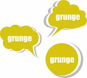 Grunge Word On Modern Banner Design Template. Set Of Stickers, Labels, Tags, Clouds