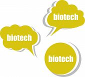Biotech Word On Modern Banner Design Template. Set Of Stickers