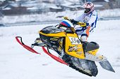 Sport snowmobile jump on track