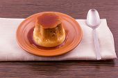 Creme Caramel Vanilla Custard Dessert Or Flan On Dish