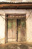 Hand Crafted Wooden Door At Zanzibar