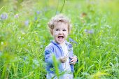 Adorable Laughing Baby Girl Playing With Blue Flowers In A Garden