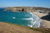 Scenic View From Above Portreath Beach In Cornwall Uk.