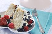 Slice Of Fresh Whipped Cream And Berries Layer Sponge Cake With Fork And Pale Blue Napkin.