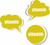 Vitamin. Set Of Stickers, Labels, Tags. Template For Infographics