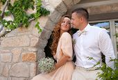 Just Married Couple Embraced Bride And Groom Rustic Style Wedding
