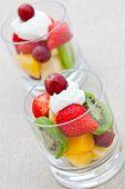 Healthy Breakfast Of Fruit Salad With Yogurt