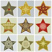 Set Of Christmas Stylized Star