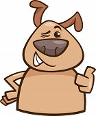 Winking Dog Cartoon Illustration
