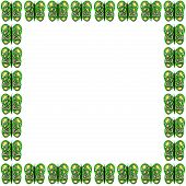 Green-Yellow-White Butterfly Pattern Frame