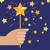 Hand Holding Magic Wand With Star, Vector Illustration